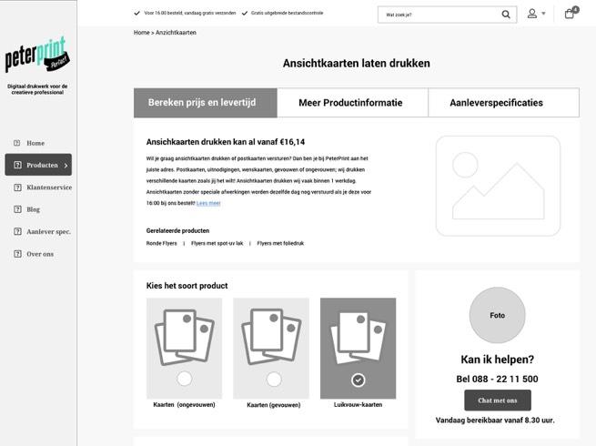 wireframe peterprint.nl